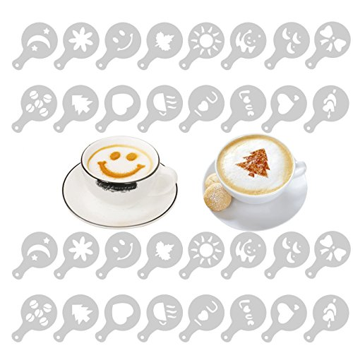 Honbay 2 Set 32PCS Creative Latte Stencils Nice Coffee Barista Stencils Template Strew Pad Duster Spray Art(2 Set and 16PCS Different Pattern for One Set)