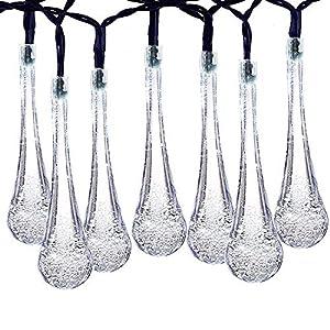 Kalokelvin Luces Solares LED Exterior 8 Metros 40 Luces LED Gota de agua, 8 Modos, Impermeables Luces de Decorativas Perfecto para Jardín, Patio, Arboles, Boda (Blanco)
