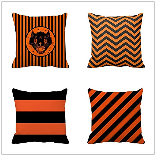 N / A Throw Pillow Case Cushion Covers Halloween Cotton Linen Decorative Square Pillowcases for Sofa Bedroom with Lnvisible Zipper Car Home Decor Set of 4 Pillowcase 55x55cm(22x22inch) Y593