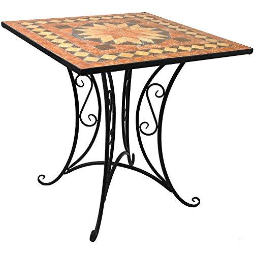 Massiver Mosaik Gartentisch Mosaiktisch 70x70cm Beistelltisch Steintisch