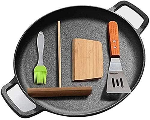 YZYN Frying Pan 30cm Cast Iron Frying Pan Non-stick Pancake Pan Omelette Pan Binaural Pizza Pan Suitable For Kitchen (Color : Default)