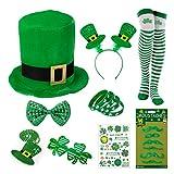 L-LATFF St. Patrick's Day Decorations, 12 Pcs Irish Parades Costumes Shamrock Hat Necklace Mustaches Sequin Bow Clover Glasses Temporary Tattoos Lucky Bracelets Socks Patricks Party Favors (Women)