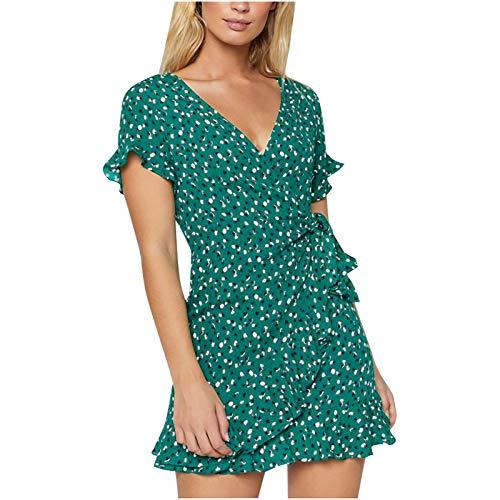 OverDose Boutique Robe à Manches Courtes en Mousseline de Soie à col en V à Volants et Cravate Mince pour Femme Robe Femme Ete 2021 Chic Mode Rétro Décontractée