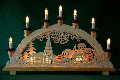 """Schwibbogen Lichterbogen """"Dorf und Glocken"""" 10flammig innenbeleuchtet Weihnachten Advent Geschenk Dekoration (10767)"""
