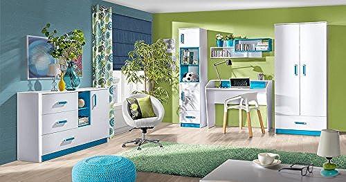 Kinderzimmer Set D Frank, 5-teilig, Farbe  Weiß Blau