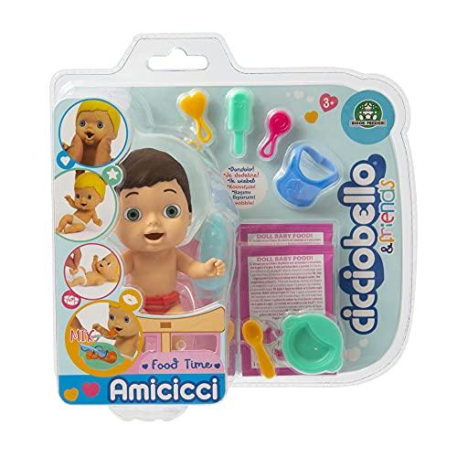 Cicciobello - Amicicci Food Time, Tenero Bebè Ciccioeric con Pannolino Colorato, Mini Personaggio e Set Pappa, per bambine a partire dai 3 anni, CC001700, Giochi Preziosi