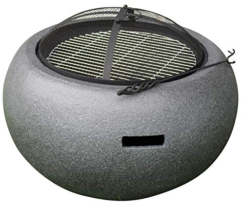 Rammento Outdoor Fire Pit Bowl & BBQ Grill Round Shaped Patio Fire LARGE Outdoor Fire Pit 67.5cm Granite Texture Dark Grey