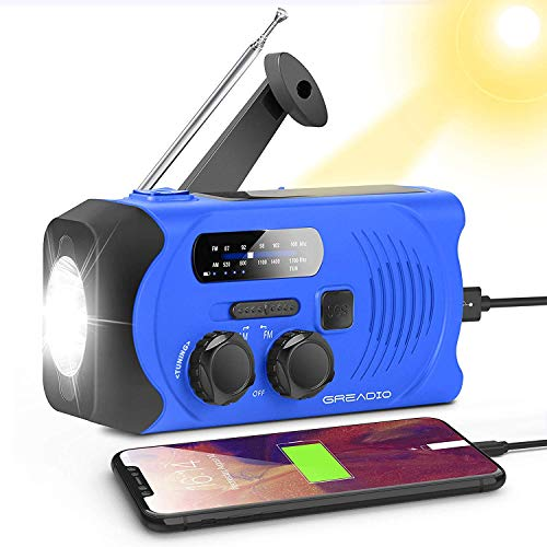Emergency Solar Powered AM/FM Hand-Crank Radio with Bright Flashlight, SOS Alarm and 2000mAh Power Bank for Emergency and Outdoor Activies Blue