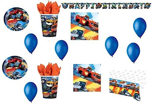 CDC – Kit N ° 20 Fête et Party blaze-le Mega machines – (40 assiettes, verres, 40 serviettes, 1 nappe, 1 guirlande bannière, 100 ballons)