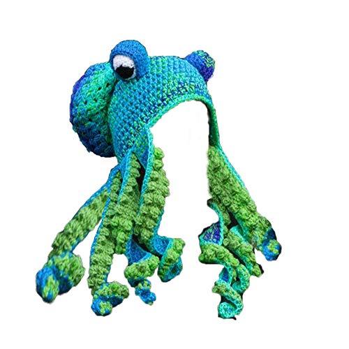 Nette Neuheit Hüte Kreativer Beanie Hut Strickmütze Winter Warmer Octopus Hut Warm Windproof Lustig für Männer & Frauen, Weihnachtsfeier Halloween Cosplay Kappen Hut Cartoon Octopus Bart Geschenk Hüte