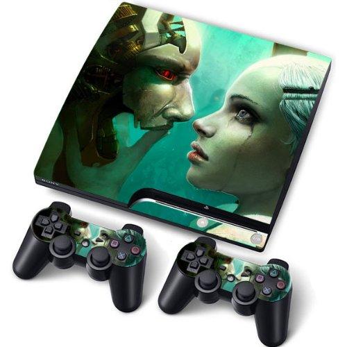 PS3 Slim Designfolie Sticker Skin Set für Konsole 2 Controller by Funky (Cyborg red Eyes)
