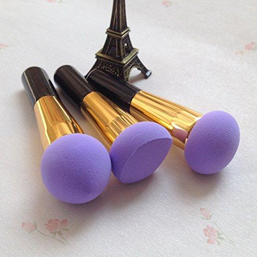 Dolovemk 3 pcs/Ensemble de maquillage professionnel mélanges éponges Beauté éponge Brosse de Cosmétique Fond de teint Puff applicateurs Flawless blender avec poignée, hauteur : 13.5 cm sans latex