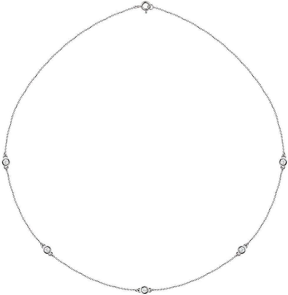 1/2 Cttw Lab-Grown Diamond 5-Station Charm Pendant Chain Necklace 18