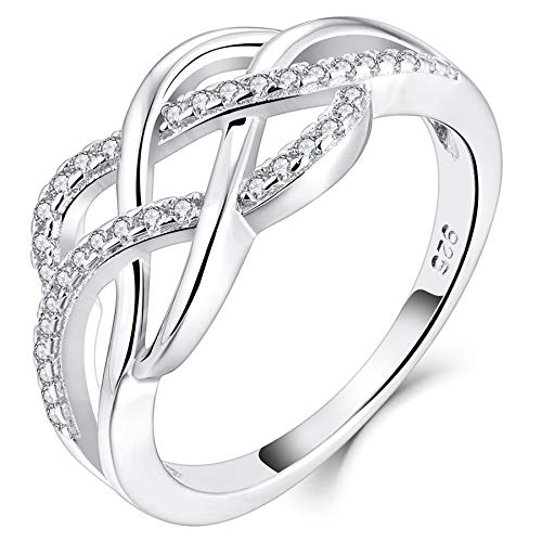 YL Celtic Knot Rings 925 Sterling Silver Twisted Knot Ring 18k White Gold Plated Cubic Zirconia Infinity Statement Rings-size5