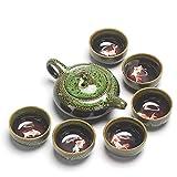 Juego de té Kung Fu portátil chino, tetera, juego de té de cerámica vintage, juego de té de viaje (verde)