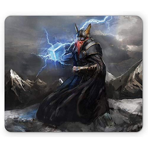 Tappetino per mouse Viking Thor con Mjolnir e il tuono che vola sopra le montagne Guerriero arrabbiato dai miti norvegesi Dimensione standard Rettangolo Tappetino antiscivolo Multicolore