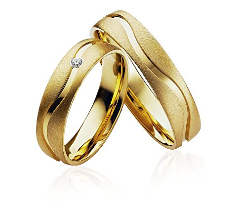 2x Eheringe Partnerringe Trauringe Verlobungsringe Freundschaftsringe in 585 Gold *mit Gravur und Stein*