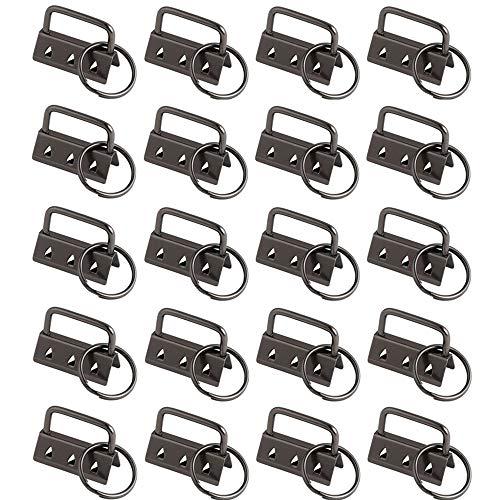 LEZED Schlüsselband Rohlinge Klemmschließeanhänger mit Schlüsselring DIY Schlüsselringen zur Herstellung von Schlüsselbändern Anhänger Schlüssel Basteln Endkappen Schlüsselband 20 Stück