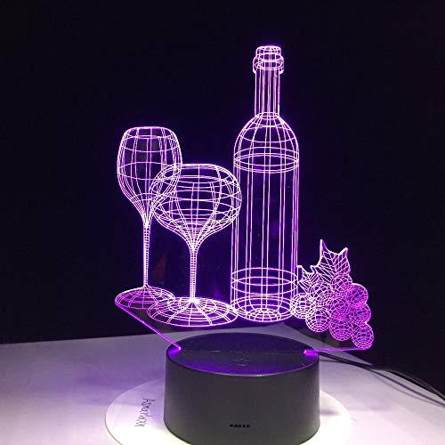 LNHYX Botella de vino de cristal Usb Lámpara 3D 7 colores Touch...