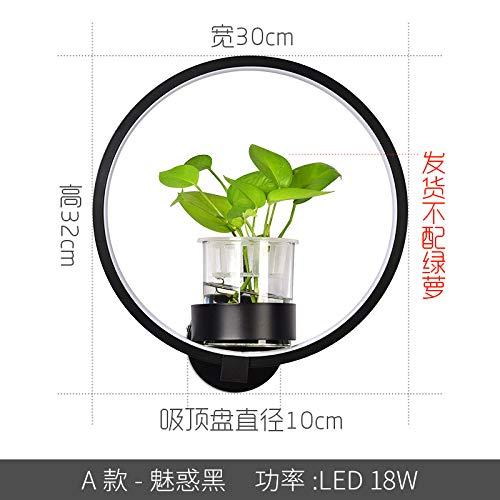 Lámpara de pared nórdica moderna y moderna de una planta creativa. Una luz negra de doble color.