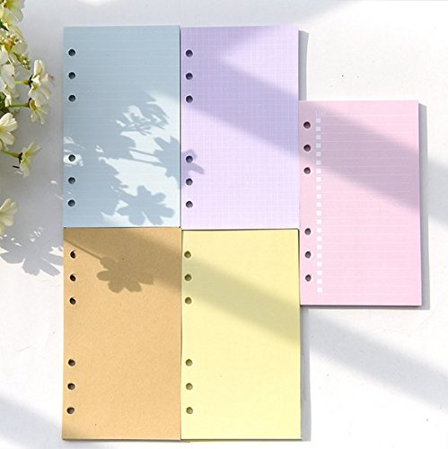 Chris-Wang 5 Sets Assorted Colors Ruled/Plain/to Do List/Blank Refills Inserts Filler Paper Pages for 6-Holes Binder/Journal/Dairy/Day Planner/Personal Organizer, A6 Size, 40 Sheets/Set