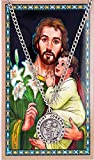 Saint Joseph 3/4-inch Pewter Medal Pendant with Holy Prayer Card