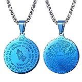 FaithHeart Azul Medalla Redonda Clásico Religioso Colgante de Collar Cadena de Eslabones Cuadrados 20 Pulgadas Joyería...
