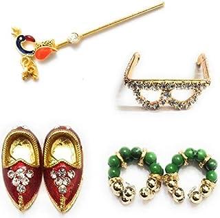 Laddu Gopal Ji Bansuri、Mojadi、Specs and Kade Combo Saver Set(Golden&Diamond)for God Krishna(Ladoo Gopal Dress Accessorie...