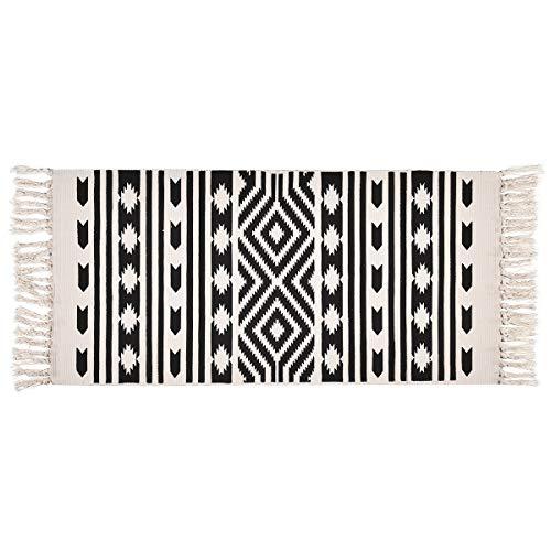 Elloevn Alfombra lavable en blanco y negro con estampado geométrico con borlas, alfombra decorativa para cocina, salón, puerta de entrada, 60 x 130 cm