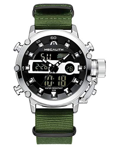Herren Uhren Herren Militär Digital Wasserdicht Sportuhr Alarm LED Digital Uhr mit Stoppuhr Männlich Multifunktion Beiläufig Armbanduhr für Männer mit Silber Dial