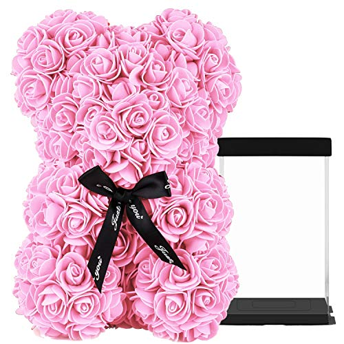 HelaCueil Rose Bär im transparenten Geschenkbox - Valentinstag-Muttertags (Rosa, 25CM /10 Zoll)