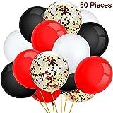 Conjunto de 80 Globos de Fiesta Globos con Confeti Globos de Látex para Decoración de Fiesta, 12 Pulgadas (Rojo, Negro, Blanco)