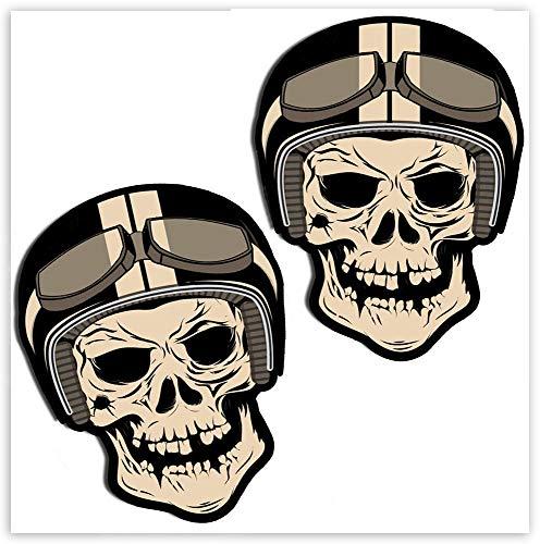 SkinoEu 2 x Adesivi Vinile Stickers Skull Teschio Divertente per Auto Moto Finestrino Porta Casco Scooter Bici Motociclo Tuning B 49