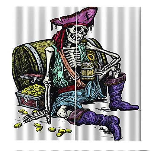 FACWAWF Cortinas Decorativas De Halloween De Impresión Digital 3D, Cortinas A Prueba De Sol Y Aislantes del Calor 2xW75xH166cm