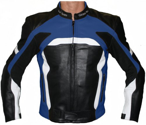 German Wear Motorradjacke Lederjacke Biker lederjacke 4x Farbauswahl, Frabe:Dunkelblau;Größe:L