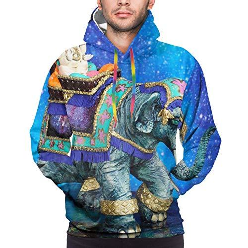 Sudadera casual con capucha para hombre, diseño de elefante indio, azul galaxia
