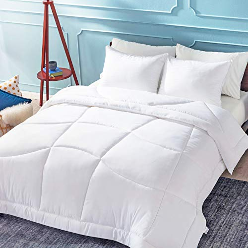 Bedsure Daunen-Alternative Bettdeckenbezug, Full/Queen-Size-Größe, ergonomisch, 300 g/m², Mikrofaser, hypoallergen, mit Ecklaschen, gesteppt, leicht, für alle Jahreszeiten, Weiß