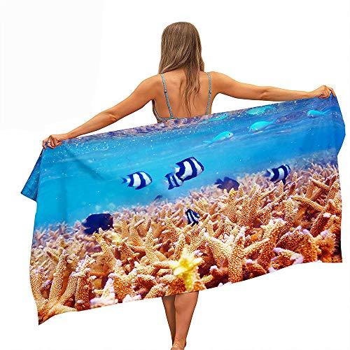 Surwin Grande Toalla de Playa de Microfibra Toalla a Impresión de Secado Rápido Súper Absorbente Natación Toalla de Arena Antiadherente para Playa, Oceano Impresión (Coral Rojo,70x150cm)
