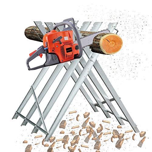 Puffalou Sägebock 150kg Belastbarkeit Holzsägebock Verzinkt Sägegestell Zusammenfaltbar Kettensägebock Holzbock für Kettensägen oder Handsägen