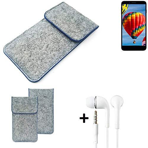 K-S-Trade Handy Schutz Hülle Kompatibel Mit Vestel V3 5030 Schutzhülle Handyhülle Filztasche Pouch Tasche Hülle Sleeve Filzhülle Hellgrau, Blauer Rand + Kopfhörer