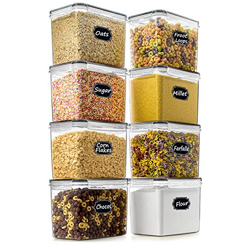 Airtight Food Storage Container - Wildone Cereal & Dry Food Storage Containers Set of 8 [3.6L/3.3QT] for Sugar, Flour, Snack, Baking Supplies, with 4 measuring cups, 20 Labels & 1 Marker