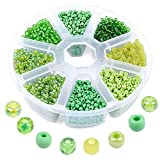 3600 Pcs Glass Seed Beads, 3mm 8/0 Bracelet Beads Set, Assorted Glass Beads with 8-Grid Plastic Storage Box, Small Round Beads for Jewelry Making - Green Series