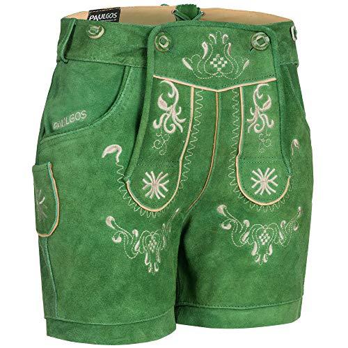 PAULGOS Damen Trachten Lederhose + Träger, Echtes Leder, Kurz in 8 Farben Gr. 34-50 M3, Damen Größe:48, Farbe:Grün