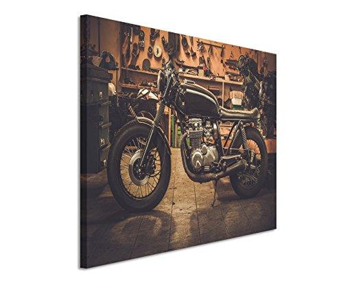 Unique Fotoleinwand 120x80cm Kunstbilder – Vintage Motorrad in der Garage