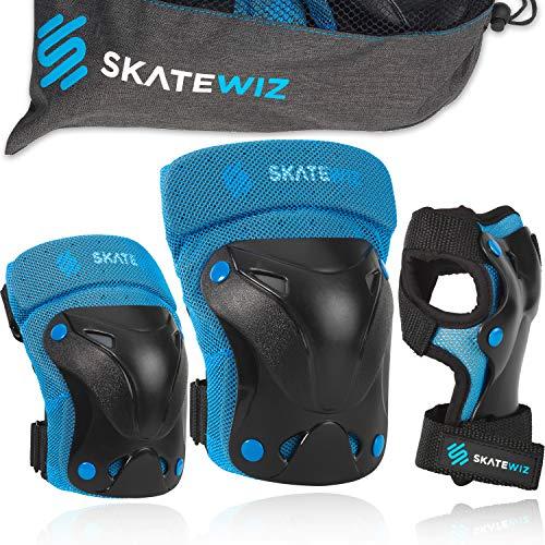 SKATEWIZ Protect-1 Schoner Inliner Kinder - Größe L in BLAU - Kinder Knieschoner Set - Skater Schutzausrüstung Damen Inline Schoner
