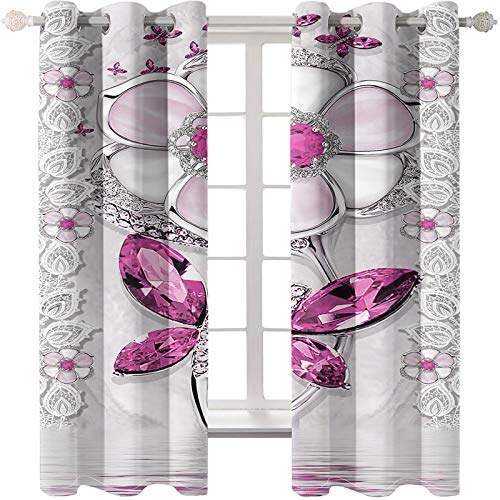 Las Cortinas Rosa Dream Girl Son Adecuadas para Dormitorios De Niños Salones De Bodas Jardines Método De Instalación De Cortinas Súper Sombreadas Perforadas 68 Piezas De Mariposa Blanca
