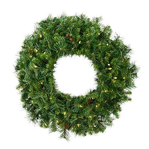 Vickerman 36' Cheyenne Pine Artificial Christmas Wreath, Warm White LED Lights - Faux Christmas Wreath - Seasonal Indoor Home Decor