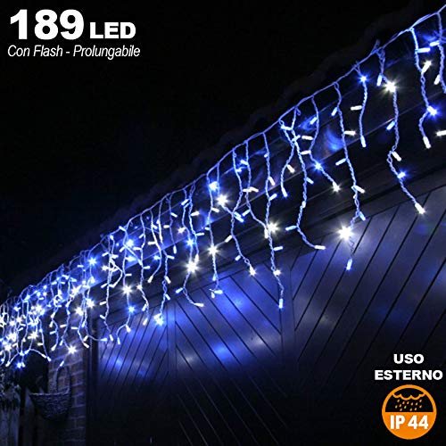 Bakaji Lighting Tenda Cascata Luminosa 510 x 90 cm Prolungabile Fino a 15 MT 189 LED con FLASH, Luci per Esterno Catena Natalizia IP44 (Blu)