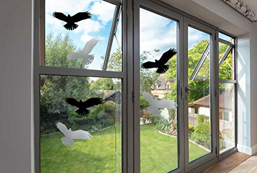 Window Alert Bird Stickers - Anti-Collision Clings Silhouettes Glass Door Protection and Save Birds (Set of 6 Silhouettes, Black &Transpartent)