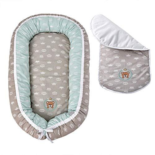 Sei Design Babynestchen Öko-Text 88x60x12 Bezug aus 100% Baumwolle mit Reißverschluss | Babynest